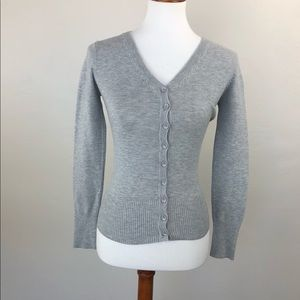 Cotton On Cardigan Sweater Gray Button Up V Neck S